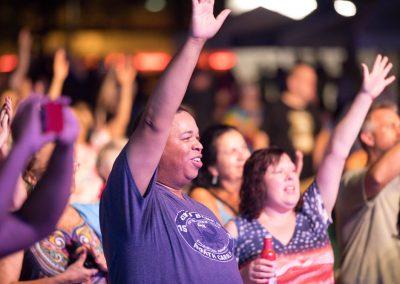 Community members enjoying a free concert at the Levitt Pavilion in Dayton, OH.